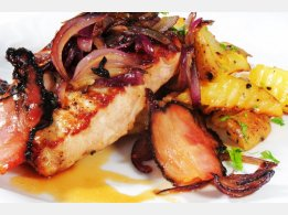 High Pork Steak with Roasted Red Onion and Bacon, Roasted Potatoes