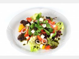 Greek Mixed Salad with Olives, Feta Cheese, Olive Oil and Sweet Basil