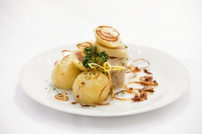 Potato Dumplings with Smoked Pork Meat and Onion